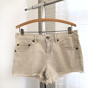 Free People Seersucker Raw Hem Shorts